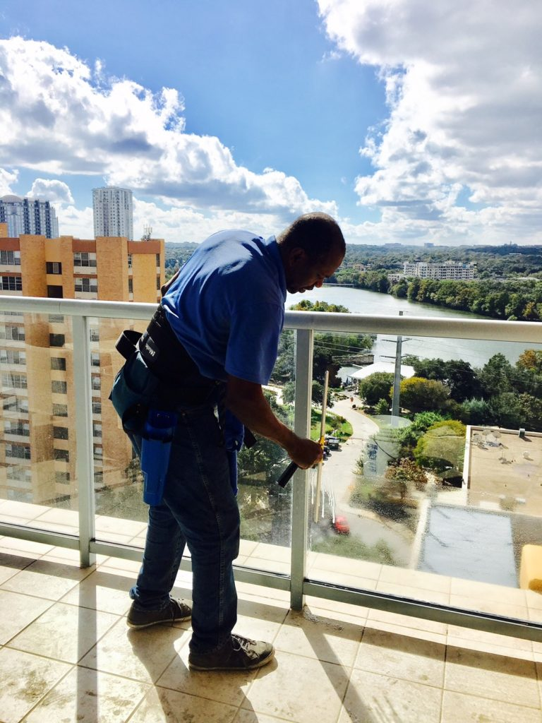 We clean windows and glass handrails and a lot of other things too!