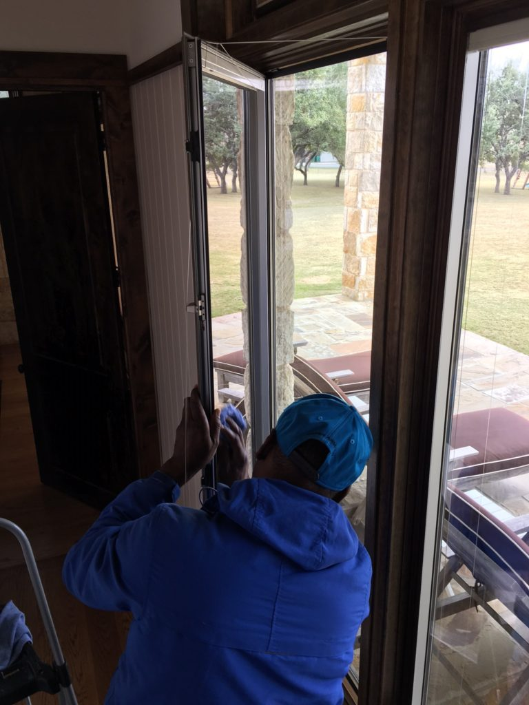 The details are real important when cleaning the inside portion of storm windows; especially the Pella type that can be opening and have blinds in between the panes.