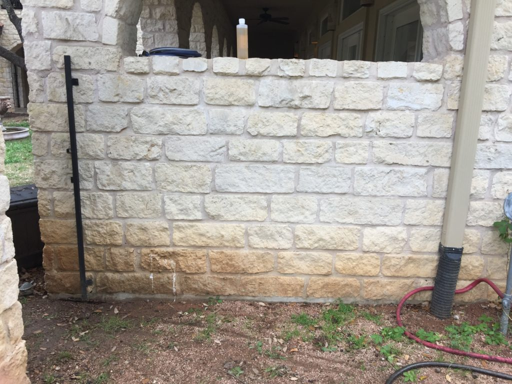 Bleach will not remove many brown stains from white limestone.